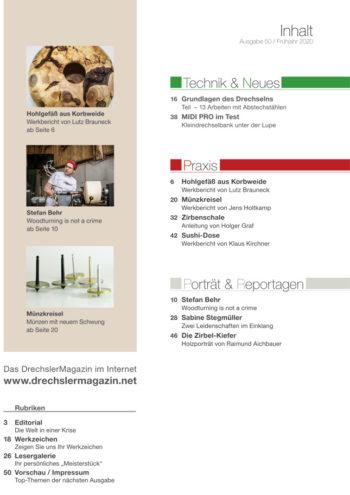 DrechslerMagazin Ausgabe 50 | Inhaltsverzeichnis