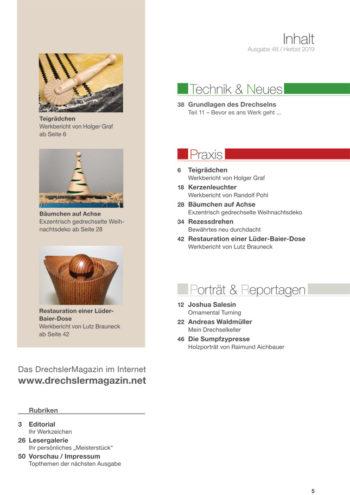 Inhaltsverzeichnis DrechslerMagazin Ausgabe 48 (Herbst 2019)